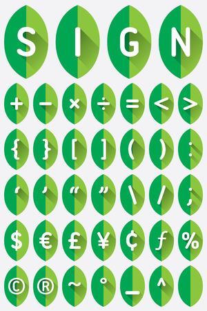 slash: Green leaf font flat icon with long shadow Illustration