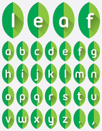 Green leaf font flat icon with long shadow