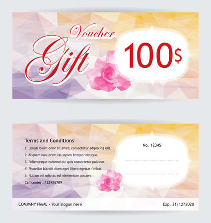 Voucher template with pink rose on low polygon background Illustration