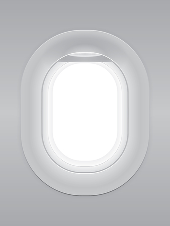 One gray blank window plane, gray airplane window, gray light template, plain aircraft window white space.