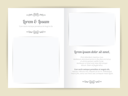 two page: White gray wedding card template, two page with basic blank square photo frame and font curve element design, light shadow on brown background, vintage style.