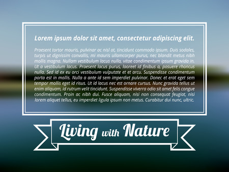 blue lagoon: Living with nature label ribbon square tag, blue lagoon blurred background, forest scene, nature backdrop with demo text box, center quote content template. Illustration