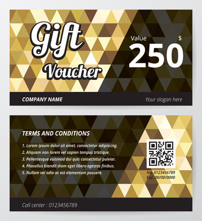 redeem: Gift voucher template with gold low polygon background Illustration