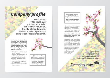 sakura tree: template sakura tree (cherry blossom) illustration on colorful low polygon background Illustration
