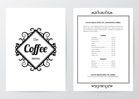 side menu: Black and white coffee menu
