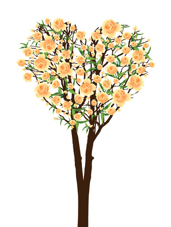 flower heart: Yellow flower full bloom on brown tree green leaf, bark wood in heart shape isolated