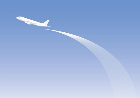 fly up: White airplane fly up on blank blue sky and line curve background Illustration