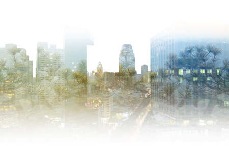 photography backdrop: Double exposure photography capital city view and forest landscape, blue, green, purple pine tree on high building composite picture background, natural scenery backdrop
