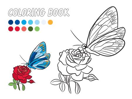 Mariposa Azul Con Alas Punto Amarillo, Rosa Flor Y Hoja Verde ...
