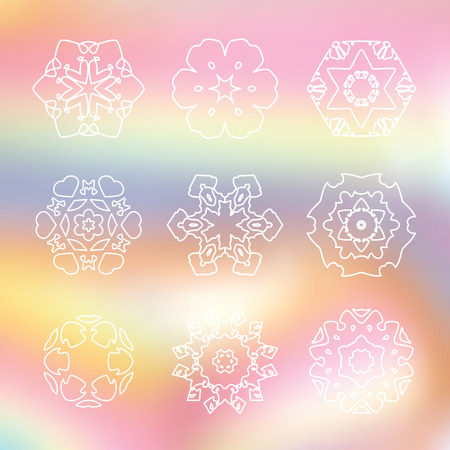 laser beam: Set of 9 white line Hexagon icon on Rainbow abstract blur background, thin line star on laser beam gradient pastel, snowflake logo on shiny spectrum backdrop Illustration