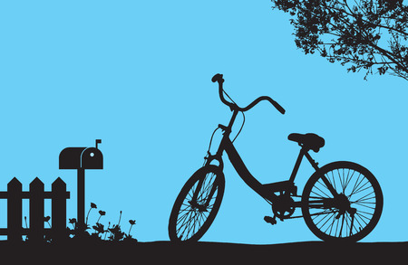 stockade: One bicycle parking under blooming flower tree near wood fence and mail box, floral meadow on the ground, silhouette shadow vintage banner travel scene on blue background