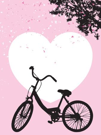 One bicycle parking under blooming flower tree, landscape park vintage spring scene, silhouette travel concept on pink background, black shadow banner on white heart shape backdrop Illustration