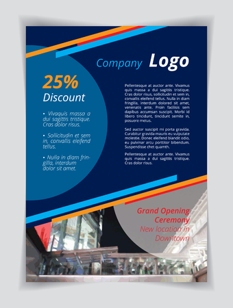 Blue company logo A4 brochure template. Orange red line and circle cyan textbox on indigo background. Flyer layout white demo text. Night party banner, Printing CMYK shopping slogan poster page. Çizim
