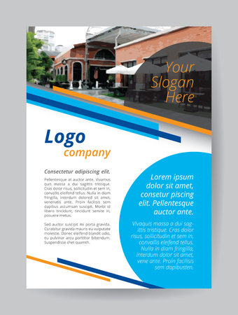 Blue Company Logo A4 Brochure Template Orange Red Line And Circle