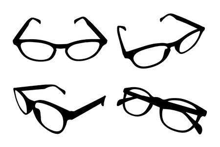 Set of four black glasses isolated on white background, different dimension vector accessory icon