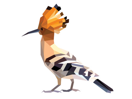 Orange Hoopoe low polygon isolated vector