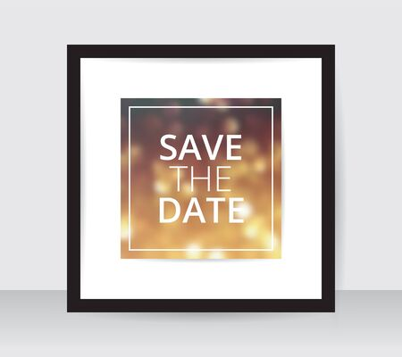 Save the date poster template gold blur on white paper black frame gray wall. Wedding banner golden glitter backdrop square layout. Marriage ceremony sample yellow dotted bokeh backdrop. Ilustrace