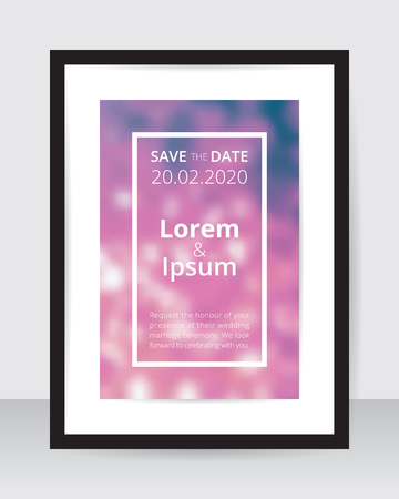 Save the date poster template pink blur on white paper black frame gray wall. Wedding banner purple glitter backdrop square layout. Marriage ceremony sample violet dotted bokeh backdrop.