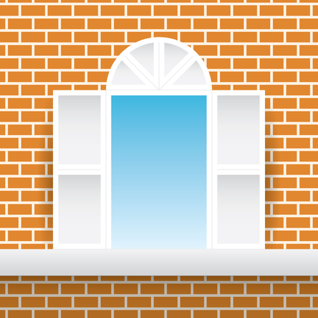 White square window orange brick home wall and blue sky background. Brown red flat block building windowpane house partition backdrop vector.