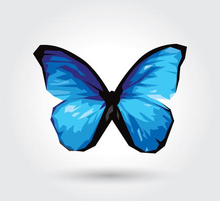 흰색 배경에 고립 된 낮은 다각형 블루 나비, 벌레 날개 비행 곤충. 로고 형상. 버그 다각형 크리스탈 스타일. 일러스트