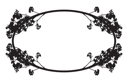 Full bloom sakura flower branch isolated black border, Cherry blossom flora round bush vintage silhouette. Oval floral circle frame template.