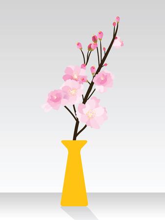 Full bloom sakura flower tree isolated orange pot, pink japan flora bush, spring floral branch in yellow vase gray background. Treetop of Cherry blossom petal leaf black black vector. Illustration