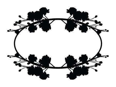 Full bloom sakura flower tree isolated oval border, black japan flora bush round frame, spring floral circle branch on white background. Treetop of Cherry blossom petal leaf vector. Ilustração