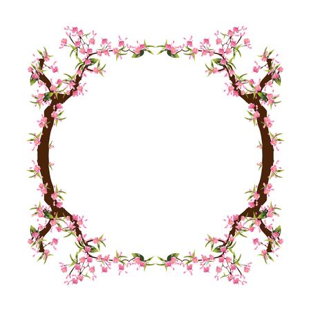 Full bloom sakura flower tree isolated oval border, pink japan flora bush round frame, spring floral circle branch on white background. Treetop of Cherry blossom petal leaf vector. Ilustração