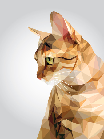 Tabby brown cat green eyes isolated on white background, red orange kitty low polygon, animal crystal design illustration, modern geometric graphic.