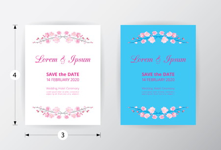 Full bloom pink sakura flower wedding card template circle, Cherry blossom floral vintage invitation frame isolated on white round background. Japan spring flora wreath curl border element.