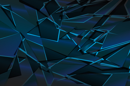 Black blue shadow low polygon abstract background, broken glass triangular wallpaper, geometric technology banner, dark polygonal texture, dusk night vector backdrop, shiny crystal pattern design.