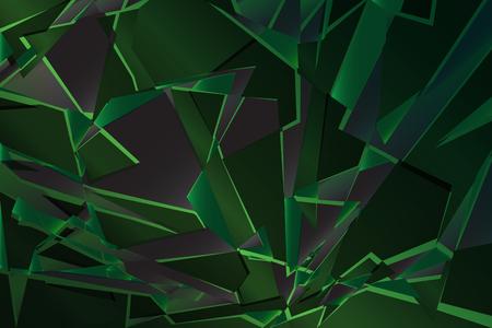 Black green shadow low polygon abstract background, broken glass triangular wallpaper, geometric technology banner, dark polygonal texture, dusk night vector backdrop, shiny crystal pattern design.