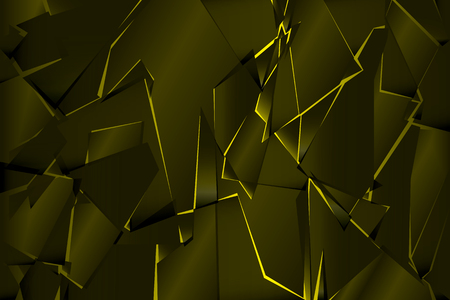 Black yellow shadow low polygon abstract background, broken glass triangular wallpaper, geometric technology banner, dark polygonal texture, dusk night vector backdrop, shiny crystal pattern design.