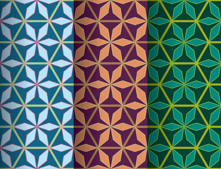Colorful hexagon star in pastel geometric flower seamless pattern design, green gradient banner, abstract polygon background, bright wallpaper.
