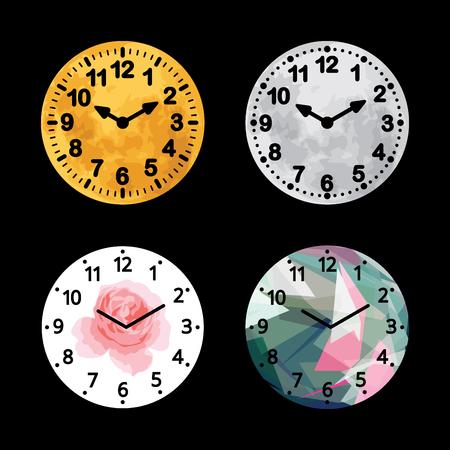 Set of alarm clock flat block icon in different designs.