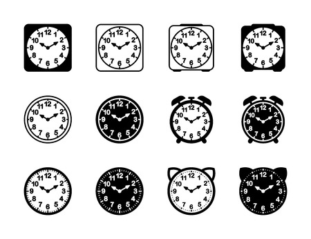 Set of black and white alarm clock flat block icon design.