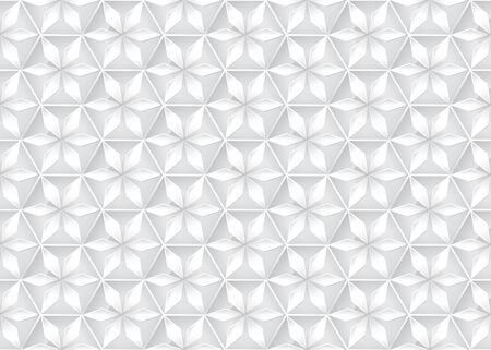 Gray hexagon star icon, grey geometric flower logo, seamless pattern design, silver gradient banner, abstract polygon background, bright white wallpaper.