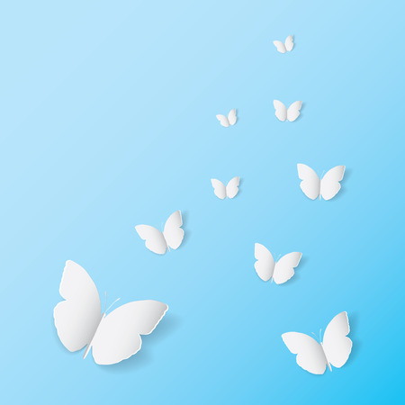 White butterfly paper art icon on blue banner background, wedding card invitation printing template. Love flying wings backdrop bright cyan wallpaper. Ilustração