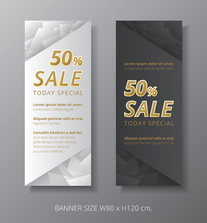 Sale banner golden text on silver low polygon gray background.