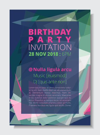 Birthday party invitation card template A4 size, colorful abstract low polygon blue background. CMYK brochure book cover pink and green text. Ilustração