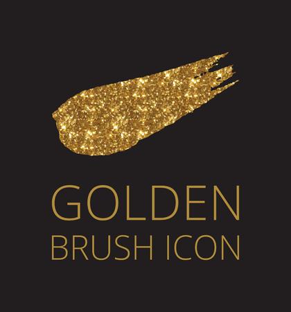 Gold glitter font brush on black background, golden vector cmyk illustration, glossy printing template.