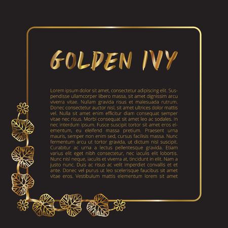 Gold glitter font brush on black background, golden vector ivy leaf border frame illustration, glossy printing template.