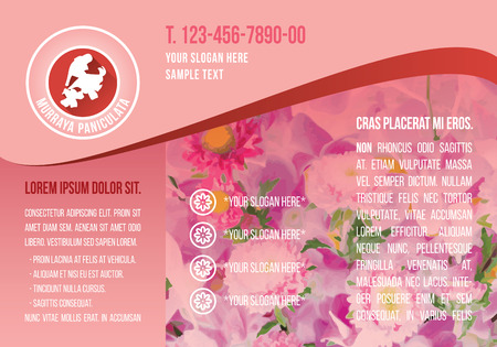 Pink A4 brochure template, red flower icon with demo text, floral icon flyer, flora text box purple banner. Landscape CMYK offset layout printing.