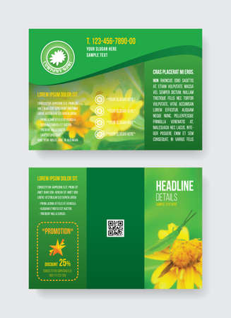 Green A4 fold3 brochure template two side grasshopper on yellow flower, white daisy floral logo and demo text, verdant flora icon flyer. Landscape CMYK offset layout printing with QR code backside.