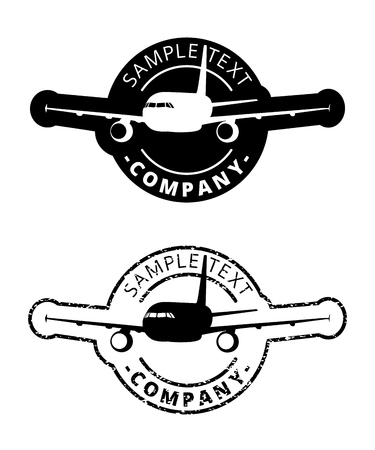 Black plane logo circle border, silhouette airplane icon sphere print, aircraft sign stamp in cycle label.