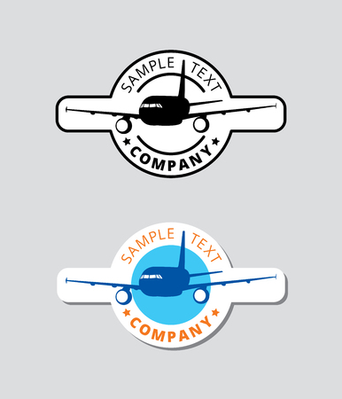 Black plane logo blue circle border, silhouette airplane icon sphere print with orange text, aircraft cyan sign stamp in cycle label.