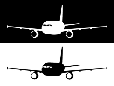 Black plane logo vector, silhouette airplane icon model print, aircraft sign stamp shadow illustration.