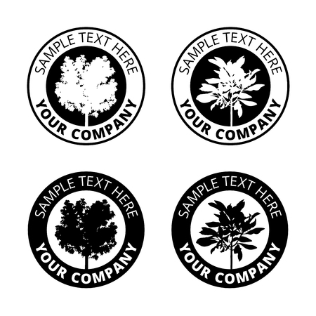 Group of black tree logo circle border, set of silhouette forest icon sphere print, ecology plant sign in cycle label.