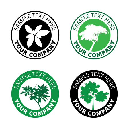 Group of black tree logo circle border, set of silhouette forest icon sphere print, ecology green plant sign in cycle label.
