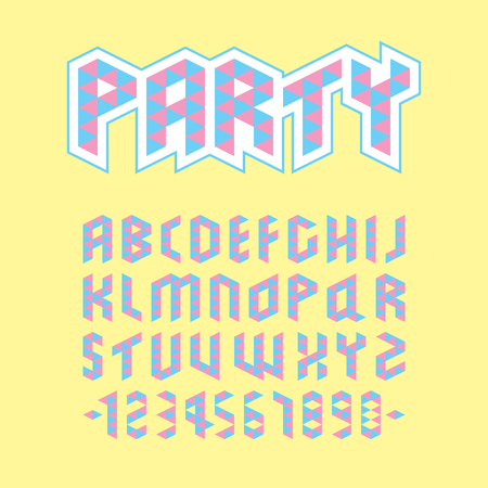 Colorful uppercase geometric party font design, cyan magenta polygon English alphabet on yellow background, delta graphic capital typography, pastel triangle character and number.
